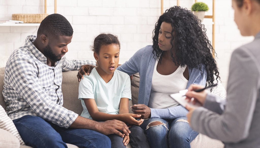 A family undergoing a therapy session
